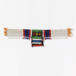 "Necklace known as a ""love letter.""  At center front, five overlapping squares in green, blue, white, and red beads, on a wide neck band of white with red, blue and black stripes. The various color combinations and designs convey messages connected with courtship."
