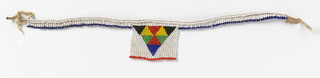 "Necklace known as a ""love letter."" White beaded square with multicolored interlocking triangles, suspended from white beaded cords. The various color combinations and designs convey messages connected with courtship."