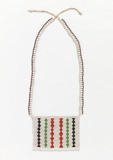 "Necklace known as a ""love letter.""  White beaded square with vertical stripes of black, green and red zig-zags, suspended from two beaded cords. The various color combinations and designs convey messages connected with courtship."
