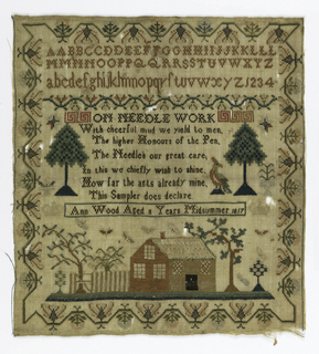 Embroidery sampler with border of stylized trees; alphabet in capitals and small letters at top; a cabin and trees at bottom; and verse.