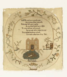 "Verse; landscape with house, trees, stag and ducks; signature ""Sarah Constable""; in oval frame of flower sprays."