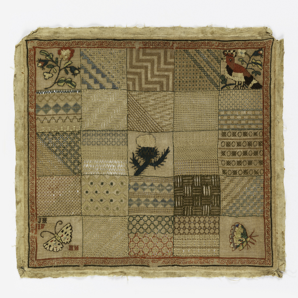 Twenty-five squares with embroidery. Twenty in geometric patterns, two with butterflies, one with roses, one with flowers, and center one with thistle.