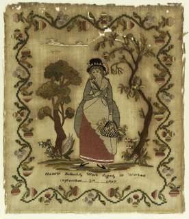 Woman holding basket of flowers, two tress, and strawberry border.