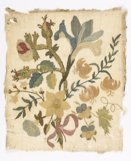 Cotton embroidered with silk in showing design of a delicate ribbon-tied spray of flowers including an iris, daffodil and thorny stem of roses.