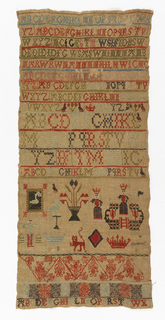 Long narrow sampler with horizontal bands containing the alphabet, numerals, and geometric figures.