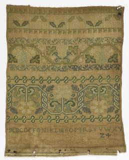 "The lower portion of a sampler with bands of pattern, an alphabet, ""Sarah Grundy, Anno Domini 1653"" and a set of numerals."