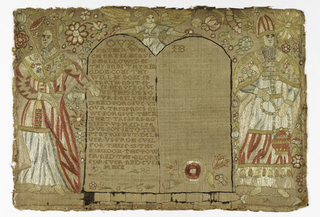 """Two robed figures, one carrying a sword, the other wearing a bishop's mitre and carrying a censor on either side of a pair of tablets. An angel is at the top. The tablet at left contains the Lord's Prayer, then """"the law given by Moses but grace and truth came by Jesus Christ."""" The tablet on the left contains the Apostle's Creed. With the inscription Martha Luck her work Anno Domini 1715."""
