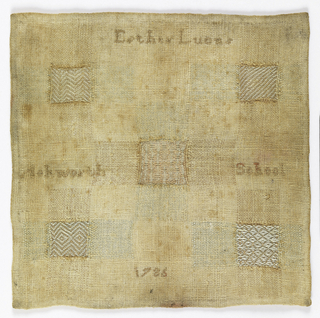 Darning sampler with five pattern crosses. Hemmed on all four sides. Five holes were cut from the plain weave foundation fabric and the holes darned to simulate five different weaves; twill, herringbone twill, bird's eye diaper and two float patterns. Inscription in cross stitch.