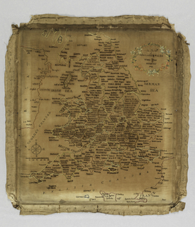 """Map of England and Wales with a flower framed cartouche on the upper right.  Inscription: """"A map/of/England & Wales/Walden House/Henbury/1789."""""""