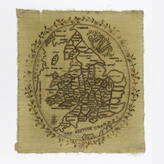 Oval map of Scotland, England and Wales.  The wool fabric is over plain weave cotton.  Some of the embroidery is through two layers; some through one.