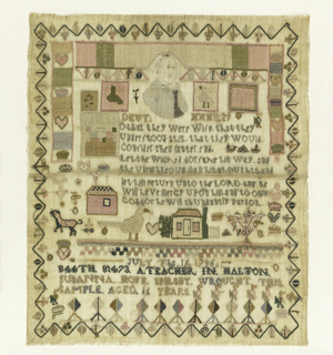 """Square of darning, a verse from Deuteronomy 32:29, and isolated domestic motifs.  Signed """"July the 16th 1786, B44th 81473 a teacher in Halton Susanna Hope Spilsby wrought this sample aged 11 years.""""  Pencil drawing of a head at top center."""