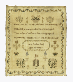 "With a curving strawberry border text: ""Blest truth descend and dwell within my heart/ O shed thy beams and never more depart/ Then when of self or others I may speak/ My words shall be sincere and kind and meek.""  Then a signature."