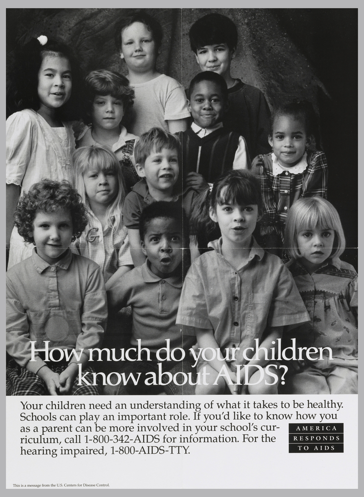 Photograph of group of children with white text: How much do your children / know about AIDS?
