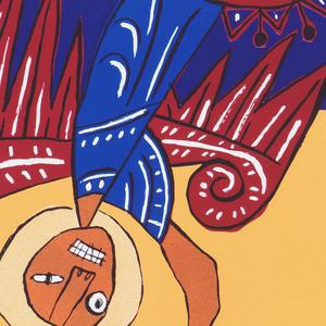On a ground of deep purple and yellow an upside down winged figure holding a sword, cringing teeth, yellow halo, red wings, and blue robes. A red and white starburst at his feet (a shield). Text in red and brown (in Latin and below in Spanish): et flebunt / et plangent / se super illam / reges terrae, / qui cum illa / fornicati sunt, / et in deliciis / uixerunt, / cum uiderint / fumum incendii / los reyes de la tierra / que con ella / se han corrompido, que en ella / han fornicado, / y en las delicias / han vivido, / sobre ella / lloraran / viendo el humo / de su incendio. Lower left: El Apocalipsis / o la Revelacion de / San Juan apostol.
