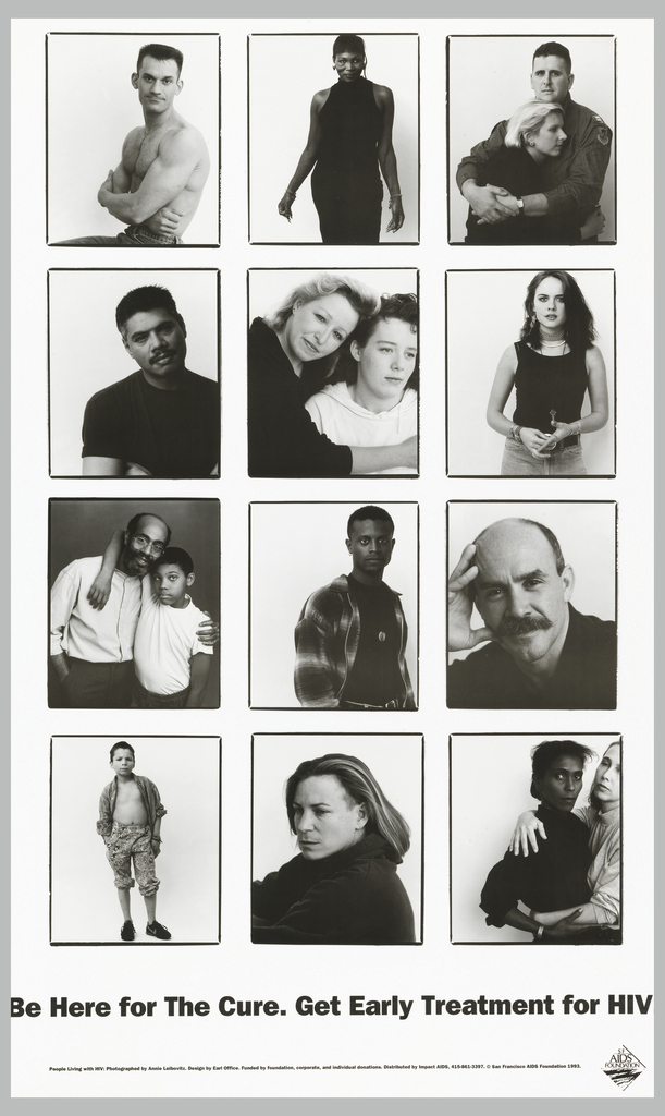 Twelve black and white photographs of different people. Below in black: Be Here for The Cure. Get Early Treatment for HIV.
