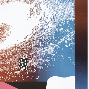 "Promotional poster for ""Pacific Wave"" at Museo Fortung in Venice.  Layering of irregular, flowing shapes with holes like surface of Swiss cheese in hot pink at top half and black at bottom half.  At top ""Pacific Wave/..."" (in white) in ascending diagonal on pink background and same text repeated below in descending diagonal on black background.  Border in shape of right triangle along top edge in color gradation from yellow at top to orange and then red. One and half inch border with same color gradation along right edge except near bottom with same color gradation.  Two border form shape of ""7"".  Large rectangle at center to right edge layered on top with image of galaxy with shape of Milky Way (in white) and universe (in marron, yellow, blue).  Another small box superimposed with black with irregular shaped holes like Swiss cheese.  Vertical pink box along right side of box with image of galaxy."