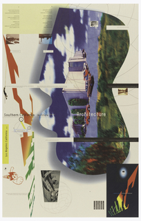 """Promotional poster for Southern California Institute of Architecture, Los Angeles for undergraduate degree program.  Recto: Large digital image in side-way perspective of building and park cars in front inside irregular border.  Building is possibly the Institute. Across center: """"Southern California Institute (in white) of architecture (in white and in superscript) of Architecture (in white)"""". Small photo reproductions scattered throughout poster.  Two small inversed photo reproductions of landscapes with poem in foreign language below and English translation below second image at top left.  One small inversed photo reproduction of rock at top right.  Black and white photo reproduction of satellite with sphere superimposed at bottom left.  Black text box with """"SCI-ARC"""" in color scheme from green to red in ascending diagonal with """"Southern California Institute of Architecture (in blue and white) superimposed at bottom right.  """"SCI-ARC"""" imprinted vertically in same color scheme along left side.  Image of super-sonic Japanese animé character at center left edge.  Image of man climbing rope at top left edge.  Short text throughout poster. Verso: divided into 16 equal sections, made up of either black and white photo reproductions with text, text with colored geometric shapes, or just simple text, with each section describing a facet about school.  Imprinted at top left, poem: """"May it be delightful, my house:/ from my head to my feet, may it be delightful./  Where I lie, all above me,/ all around me, may it be delightful./  May it be delightful, my fire,/ may it be delightful for my children./ May all be well./ May it be delightful with my food and (thirst??),/ may all my possessions be well,/ and may they be made to increase"""" with foreign version next to this.  Imprinted in black, at top right: """"Architecture can punch a hole in your sky"""".  Just above center, in three text boxes: """"At Sci-Arc people do move than they talk about.  Architecture is more than a talent or a pr"""