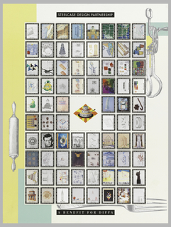 Poster features dozens of small boxes containing different images like architecture designs, color palettes, abstract designs, all seemingly old posters and designs for the DIFFA Benefit. At the upper margin a black box with white text reads: STEELCASE DESIGN PARTNERSHIP. Below: A BENEFIT FOR DIFFA. The design is on a background of a fork, rolling pin, and an egg beater. At center, a rhombus in orange and yellow containing a three-tiered cake with text that reads: EDIBLE / ARCHITECTURE / DELICIOUS DESIGN.