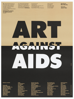 On a half peach, half black ground, text in black, peach, and white: boxes of text above and below. At center, in bold text: ART / AGAINST / AIDS.