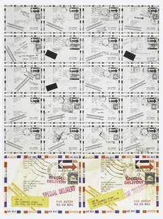"Twenty black and white reproductions of Air Mail postcards arranged in rows cover top two thirds of sheet. At lower left and right, two full color reproductions of similar postcards.  Each card has a ""return to sender"" postal cancellation. Purpose of poster is to announce the change of address for the two designers from 147 Piermont Ave in South Nyck, NY to Apt 2A, 720 Greenwich St. NY."