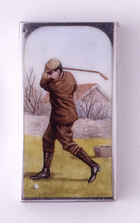 Rectangular, with polychrome enamel decoration of golfing scene: male figure, with brown hair and moustache, dressed in light brown cap, brown jacket, knickers, knee socks, black boots, standing behind ball, swings club on green lawn. Figure set against background of light blue sky, branches and rooftop partially visible behind low wall. Behind and to golfer's right is what appears to be a basket on the lawn. Enamel reserve's upper left and right corner's are curved. Flat lid hinged on left. Striker on bottom.