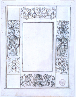 This a moulded frame of a vertical oblong. Inside are tangent panels, with empty squares in the outer corners between. In the top section are two stags upon and beside a lath and scroll motif. At the two side panels are figures of women standing in niches below canopies, the niches are constructed as laths, and supported by figures of satyresses. In the lower panel are boys sitting upon goats and climbing podium steps.