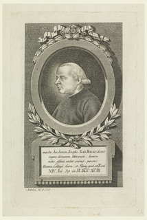 Vertical oval in vertical rectangle. Half-length portrait in side view to left. The sitter is with a bare head; he wears a dark closed coat. The portrait is in an oval frame decorated with a ribbon and laurel sprigs. Below the frame, a plaquette with inscription: macte. hoc. honore Josephe Zola....M.DCC. XCIII.