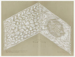 "Canopy design for wedding huppah in the form of a horizontal, fringed shawl with a six-pointed star on right end and four Hebrew characters [""Shin""] at left end.  Beneath design is small image of canopy supported on four poles."