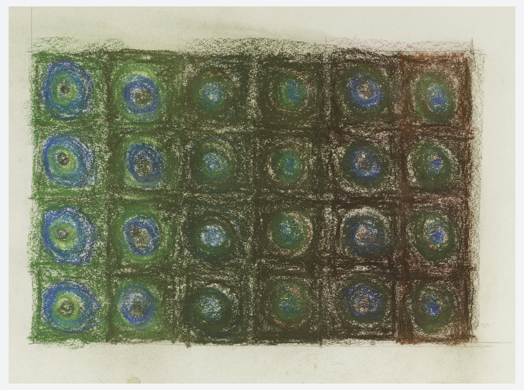 Drawing, Design for a Rug with Circles in Squares