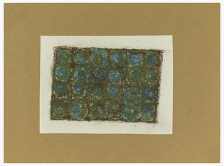 Vertical rectangle with colored boxes (two across and six down) with circles inside, in brown, turquoise, and olive green.