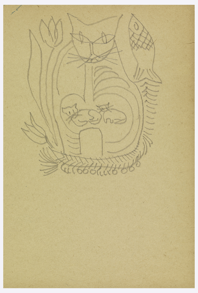 Traced sketch of seated cat with two kittens framed on left by tulips and on right by a fish with fish bones curving around cat's feet.