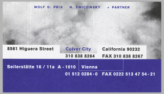 Business card divided into two sections by white margin across center. Upper section has gray cloudy background and blue ink across the top that reads: WOLF D. PRIX   H. SWICZINSKY    + PARTNER. Across bottom of upper section, in white margin: 8561 Higuera Street  Culver City   California 90232 / 310 838 8264   FAX 310838 8267. Lower section has blue background with white text that reads: Seilerstätte 16 / 11a A-1010  Vienna / 01 512 0284-0  FAX 0222 513 47 54-21.
