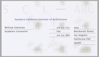 Business card is white with light gray text and image: S  C  I   –  ARC [and overlapping squares]; an arc through center of card. Left side, in black ink: William Simonian / Academic Counselor; Address and telephone numbers on right side in black ink, in two columns, all underlined: 213 574 1123 / Fax / 310 574 3801; 5454 / Beethoven Street / Los Angeles / California USA / 90066.
