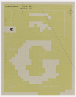 Sheet of paper with box in yellow-beige color and border in off-white. Yellow section has several areas of white text and black text, with parts of the off-white border coming into the yellow area, geometrical shapes in off-white on yellow, in pixelated form. Box in upper section containing some of these forms and text. White text reads strings of code. Lower two-thirds of sheet taken over by large pixelated 'G' in off-white. Left border has an out-of-focus pixelated black human eye and brow; black lines and scope view intersect upper section's border. Black text reads: april greiman incorporated; 213 227 1222 / fax 213 227 8651; left margin, from the bottom, sideways: 620 moulton avenue 211; los angeles California 90031 USA.