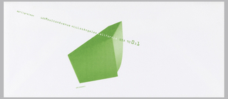 White envelope bearing address and 3-dimensional image of a geometric shape in green and white. Shape at center of envelope and text crossing two-thirds of left side that reads: aprilgreiman  620MoultonAvenue #211LosAngeles California USA 90031. Below image: GREIMANSKI.