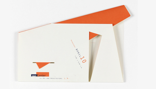 White and orange sheet of paper folded at various points with cutouts. Text in black and orange, across center: WEDNESDAY APRIL 10 / 7:00 TO 9:00 P. M.; next to this is a triangular cutout with a dotted line down its center and orange peeking through. Lower left has another cutout—slit—with orange poking through and below is logo in blue box and orange box: MAK Center / FOR ART AND ARCHITECTURE, L. A.