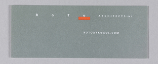 Business card in gray with white text and a red rectangular box at center; text reads: R  O  T  O   ARCHITECTS INC / ROTOARK@AOL.COM.