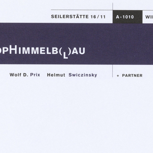 White envelope with logo and address in upper quarter, black box and dark blue box with white and black text: SEILERSTÄTTE 16/11  A-1010  WIEN AUSTRIA / COOPHIMMELB(L])AU / Wolf D. Prix Helmut Swiczinsky  +PARTNER.