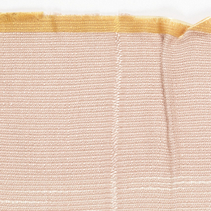 Sample woven in light salmon and some cream with horizontal and vertical lines of heavier cream.