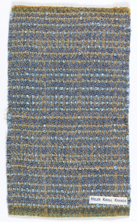 Woven sample of allover light blue, blue, and gold silk, and metallic thread in gold woven through.