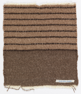 Lower half of sample woven in brown; upper section in tan with dark brown horizontal stripes.