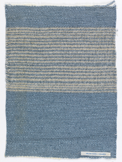 Lower half of sample woven in smoky blue; upper half smoky blue with tightly situated beige horizontal stripes.