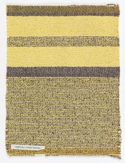 Yellow sample with brown stripes, tightly situated stripes lower half and at center of upper section; center, brown horizontal band, and upper edge.