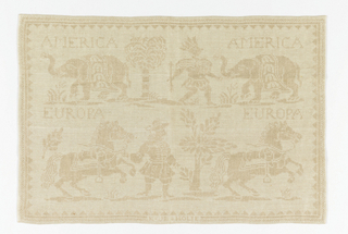 Cream colored linen textile showing the continents of America and Europe represented by text and iconographical figures of a Native American with arrow and European figure with horse.