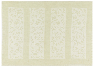 Design of small scale vine pattern contained in rectangles. Woven in white and off-white.