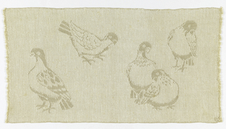 Design of birds in varying positions, woven in white and light brown.