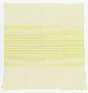 Pattern of centered stripes, set off by smaller lines and circular motifs, woven in white and yellow.