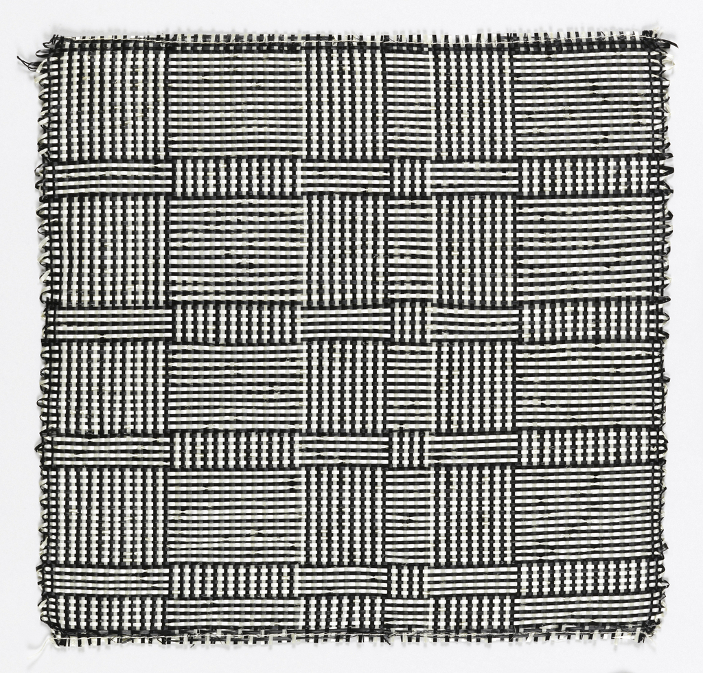 """Warp: black and white Rovana. Weft: balck and white Rovana. Changes in the alternation of black and white warps and wefts produce squares and rectangles sometimes called """"log cabin."""""""