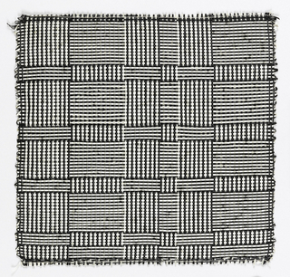 "Warp: black and white Rovana. Weft: balck and white Rovana. Changes in the alternation of black and white warps and wefts produce squares and rectangles sometimes called ""log cabin."""