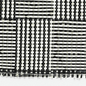 "Warp: black and white rovana. Weft: balck and white rovana. Changes in the alteration of black and white warps and wefts produce squares and rectangles sometimes called ""log cabin."""